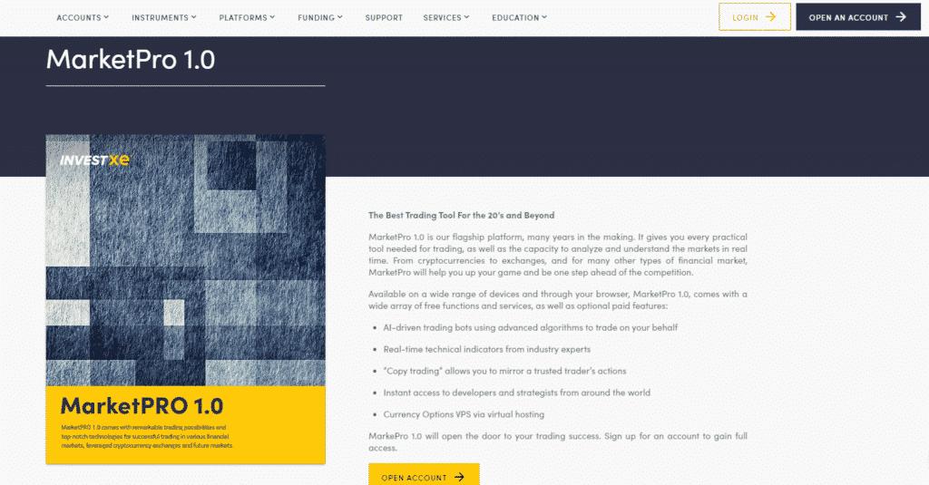 InvestXE Review- MarketPro1.0 Platform Overview